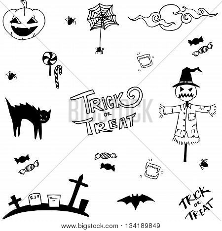 Scary halloween in doodle vector art illustration