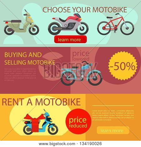 Motorcycles banners vector. Motorbike choose rent and buy banners