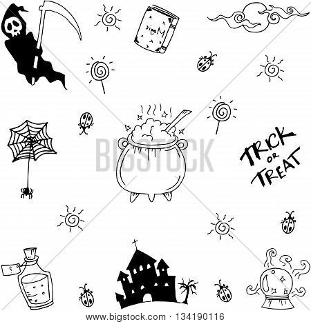 Halloween doodle collection vector on white backgrounds