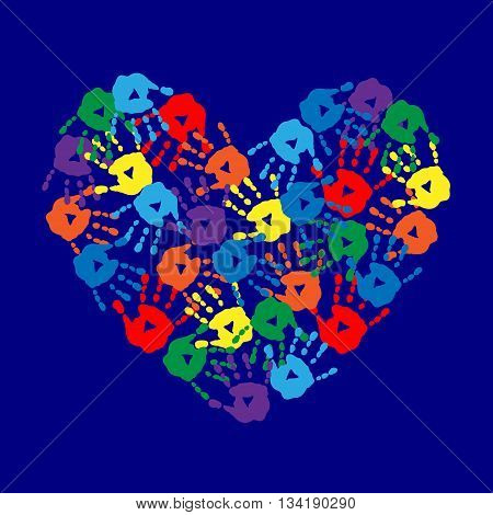 Abstract Background With Hearts And Handprints
