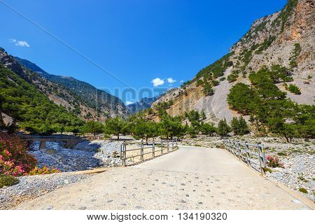 Bridge in Samaria Gorge on Crete Grece