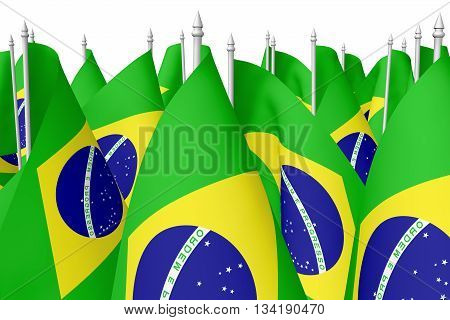 Many Small Flags Of Brazil With Flagpole