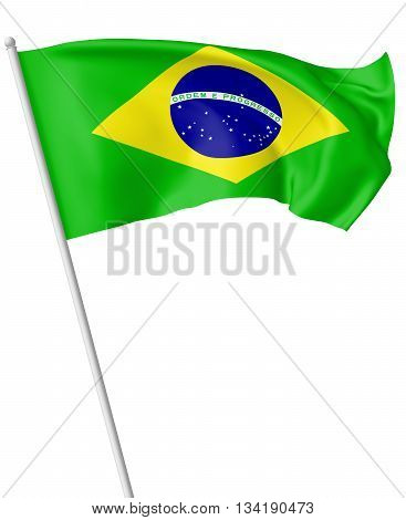 Flag Of Brazil On Flagpole