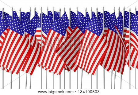 Many Small American Flags In Row Isolated Seamless