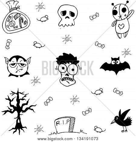 Halloween zombie and ghost doodle vector art illustration
