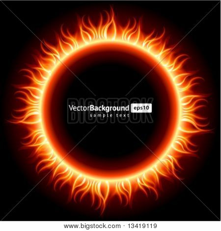 Abstract burning fire circle top view vector background