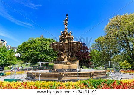 EDINBURGH - MAY 29 2016: Ross fountain landmark in Pinces Street Gardens Edinburgh Scotland UK May 29 2016 in Edinburgh UK