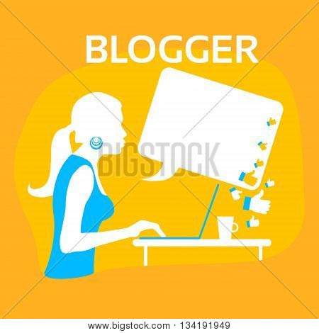 Silhouette Girl Blogger Typing Laptop Flat Vector Illustration