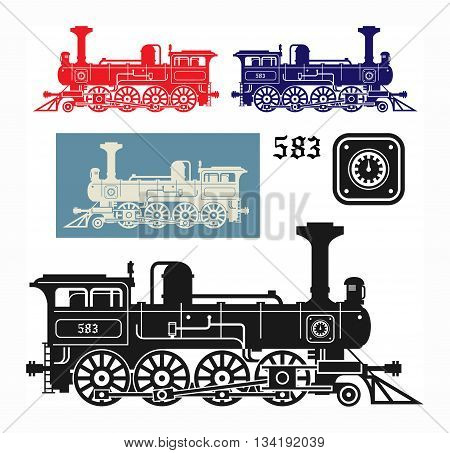 Abstract Locomotive set on white background, vector illustration