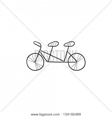Tandem bike vector sketch icon isolated on background. Hand drawn Tandem bike icon. Tandem bike sketch icon for infographic, website or app.