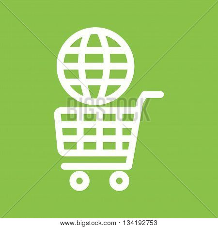 Shopping, global, online icon vector image. Can also be used for shopping. Suitable for use on web apps, mobile apps and print media.