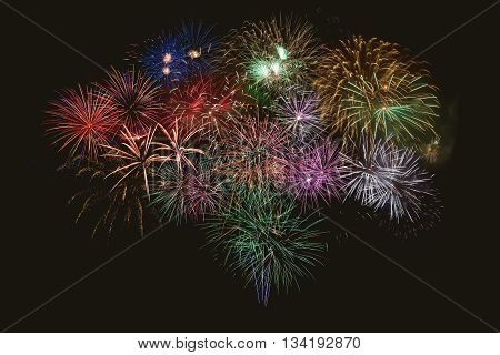 Beautiful celebration multicolored fireworks. Independence Day New Year holidays salute. 4th of July beautiful fireworks.