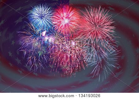 Fireworks and American flag background. 4th of July beautiful fireworks. Independence Day holidays salute. 4th of July background