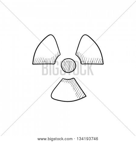 Ionizing radiation sign vector sketch icon isolated on background. Hand drawn Ionizing radiation sign icon. Ionizing radiation sign sketch icon for infographic, website or app.
