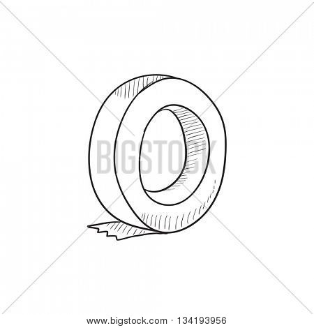 Roll of adhesive tape vector sketch icon isolated on background. Hand drawn Roll of adhesive tape icon. Roll of adhesive tape sketch icon for infographic, website or app.