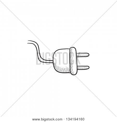 Plug vector sketch icon isolated on background. Hand drawn Plug icon. Plug sketch icon for infographic, website or app.