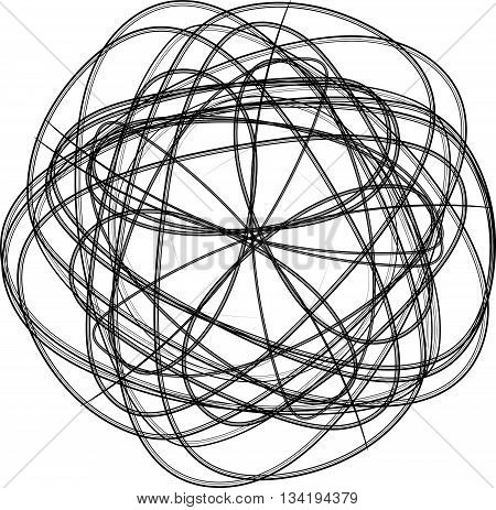Spirograph Abstract Black And White Design Element
