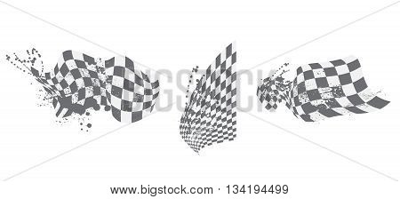Checkered Flag Background Elements Black And White