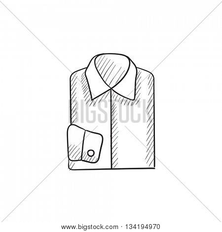 Folded male shirt vector sketch icon isolated on background. Hand drawn Folded male shirt icon. Folded male shirt sketch icon for infographic, website or app.