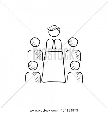 Business meeting in the office vector sketch icon isolated on background. Hand drawn Business meeting in the office icon. Business meeting in the office sketch icon for infographic, website or app.