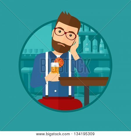 A sad hipster man sitting at the bar with glass of orange cocktail. Man sitting alone at the bar and drinking orange cocktail. Vector flat design illustration in the circle isolated on background.
