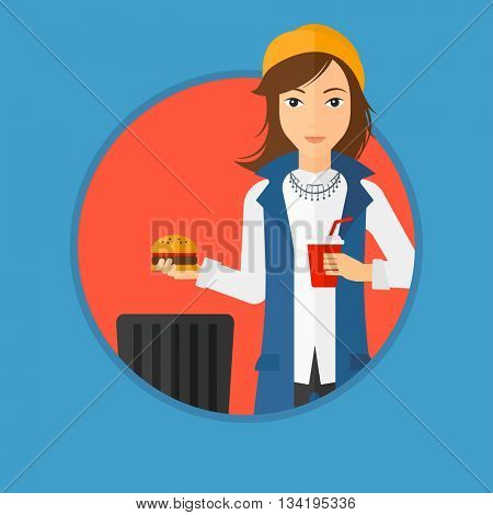 Woman putting junk food into a trash bin. Woman refusing to eat junk food. Woman rejecting fast food. Woman throwing junk food. Vector flat design illustration in the circle isolated on background.
