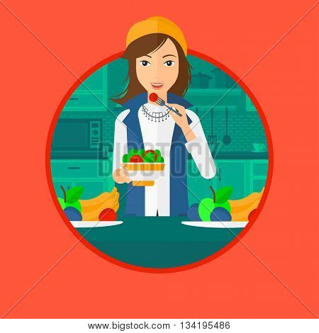 Woman eating healthy vegetable salad. Woman eating fresh vegetable salad at home. Woman holding bowl full of salad in the kitchen. Vector flat design illustration in the circle isolated on background.