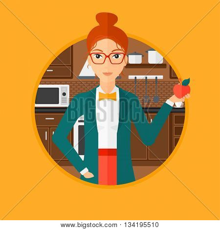 Young woman holding an apple in the kitchen. Young woman eating an apple in the kitchen. Woman with an apple at home. Vector flat design illustration in the circle isolated on background.
