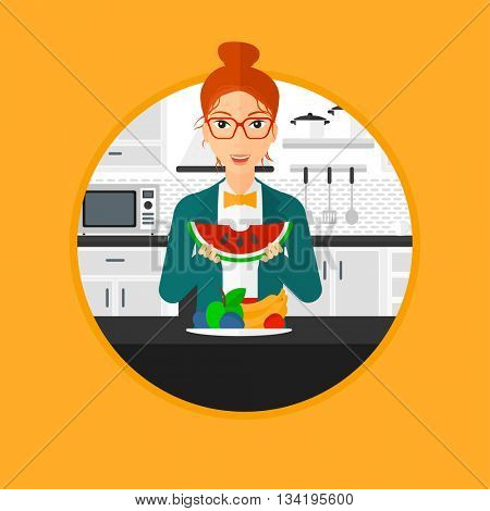 Woman eating watermelon in front of table full of fresh fruits. Smiling young woman holding a slice of watermelon in the kitchen. Vector flat design illustration in the circle isolated on background.