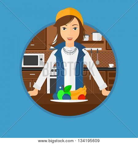 Woman standing in front of table full of fresh fruits in the kitchen. Woman with plate full of fruits. Healthy food concept. Vector flat design illustration in the circle isolated on background.