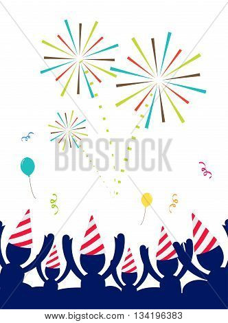 Vector : People With Party Hat Celebrate At Party With Firework,happy New Year Party