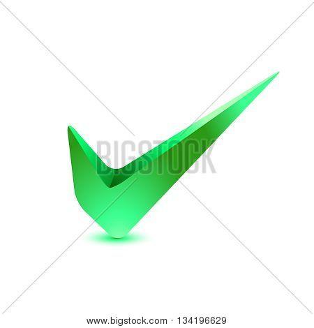 3D Green Check Mark, Tick Icon. Illustration.