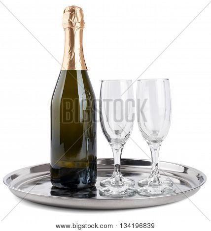 Champagne bottle and two champagne glasses on tray isolated on white background