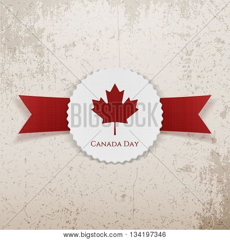 Canada Day Holiday paper Tag. Vector Illustration