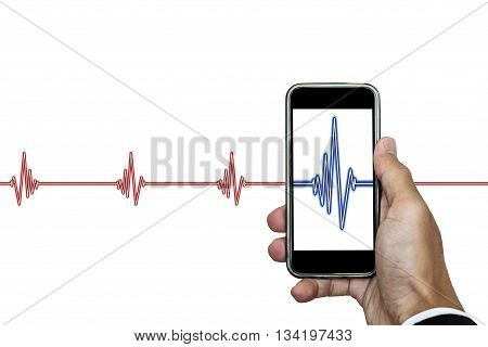Hand holding smart phone with heart rhythm ekg, isolated on white background