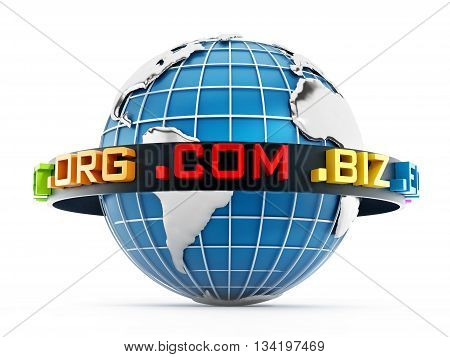 Domain extensions around the blue globe. 3D illustration.