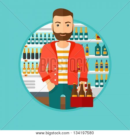 Hipster man with the beard standing in alcohol store. Man holding pack of beer at supermarket. Man standing at alcohol section. Vector flat design illustration in the circle isolated on background.