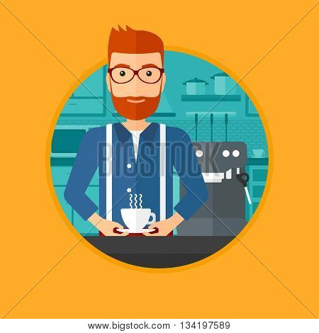 Man making coffee with a coffee-machine. Man with hot cup of coffee in hands. Man standing in the kitchen beside a coffee machine. Vector flat design illustration in the circle isolated on background.