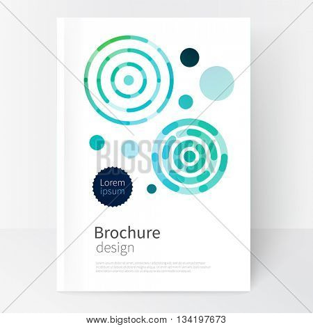 modern abstract geometric background. blue,yellow & green concentric circles. White Cover design template business brochure, booklet, leaflet, magazine. template advertisement. stock-vector 10 EPS