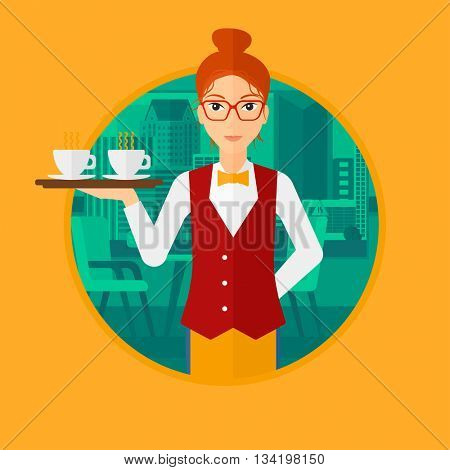 Waitress holding a tray with cups of tea or coffee. Waiteress carries coffee on a tray. Waitress with tray in a coffee shop. Vector flat design illustration in the circle isolated on background.