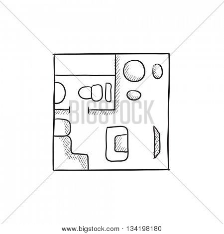 House interior with furniture vector sketch icon isolated on background. Hand drawn House interior with furniture icon. House interior with furniture sketch icon for infographic, website or app.