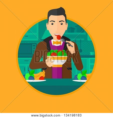 Man eating healthy vegetable salad. Young man eating fresh vegetable salad at home. Man holding bowl full of salad in the kitchen. Vector flat design illustration in the circle isolated on background.