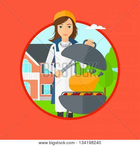 A woman cooking chicken on barbecue grill in the backyard. Woman having a barbecue party. Woman preparing chicken on the grill. Vector flat design illustration in the circle isolated on background.