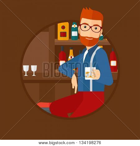 A hipster man sitting at the bar counter. Man sitting with glass in bar. Cheerful young man sitting alone at the bar counter. Vector flat design illustration in the circle isolated on background.