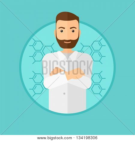 A hipster laboratory assistant with hands crossed. Confident laboratory assistant on a blue background with molecular structure. Vector flat design illustration in the circle isolated on background.