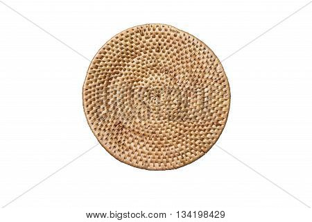 Round handmade weave rattan tray or seating surface texture, isolated on white background