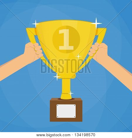 Soccer football gold trophy for winner. hands holding gold winners cup. vector illustration on blue background in flat style