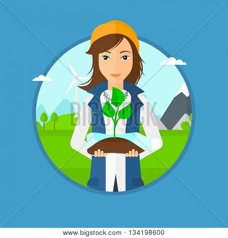 Woman holding in hands plastic bottle with plant growing inside. Woman holding plastic bottle used as plant pot. Recycling concept.Vector flat design illustration in the circle isolated on background.