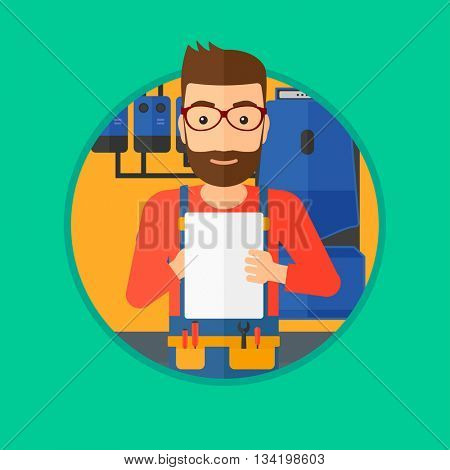 A hipster plumber with the beard making some notes in his clipboard. Plumber inspecting heating system in boiler room. Vector flat design illustration in the circle isolated on background.