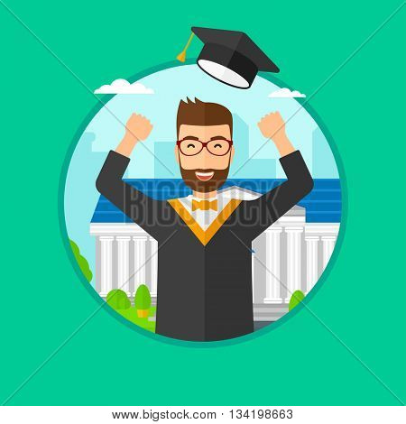 Graduate in cloak and graduation hat. Graduate throwing up his hat. Graduate celebrating on a background of educational building. Vector flat design illustration in the circle isolated on background.